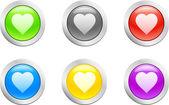 Heart button. [Vector] — Stockvektor