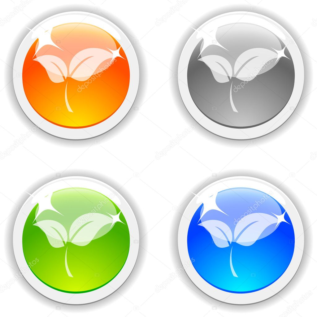 Leaves realistic buttons. Vector illustration.  — Stock Vector #2867235