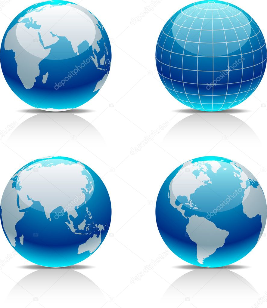 Glossy globe icons. Vector illustration.  — Stock Vector #2867283