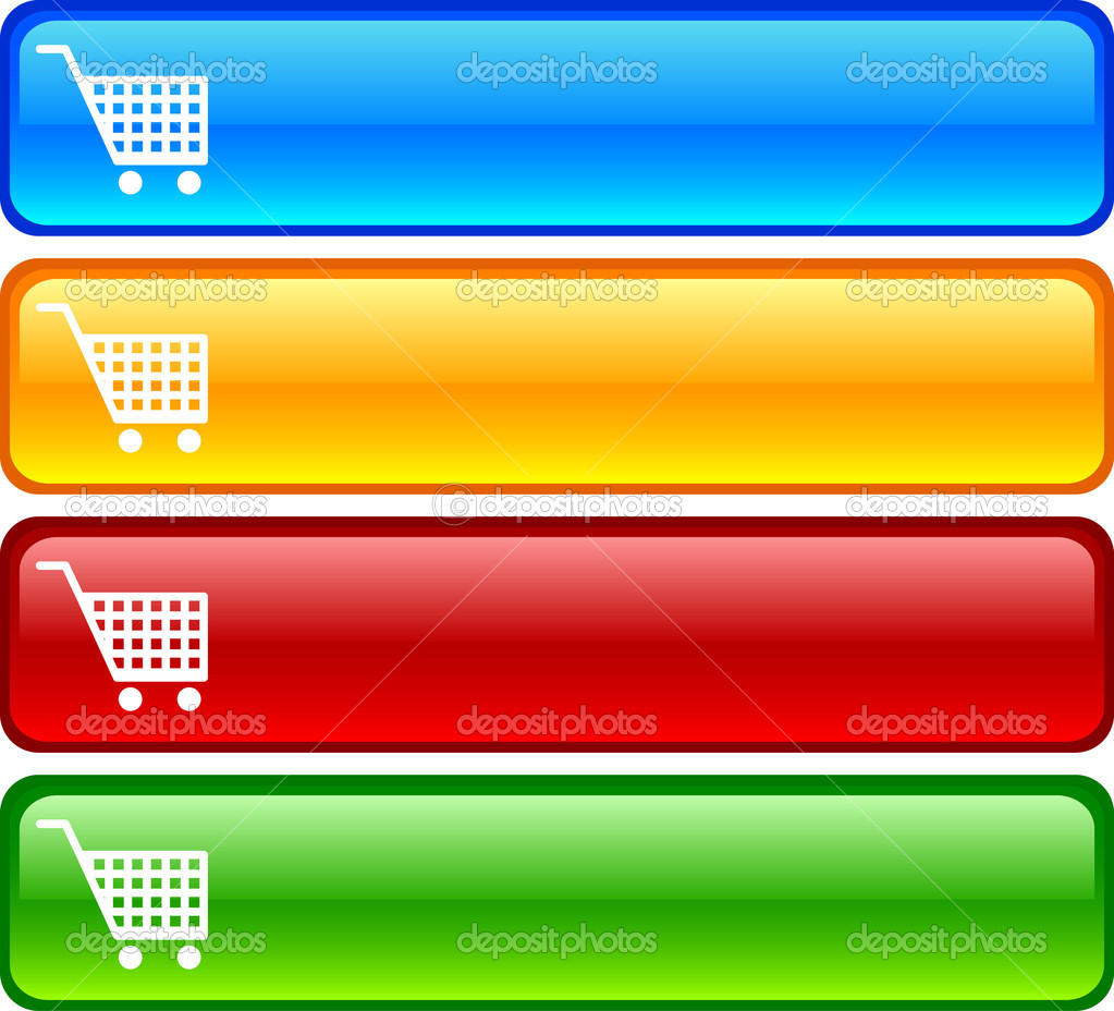 Shopping  glossy buttons. Vector illustration.  — Stock Vector #2873613
