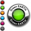 Green Earth button. — Stock Vector