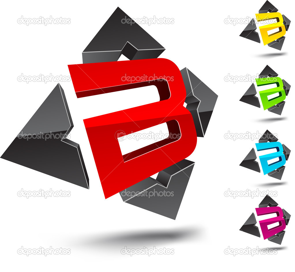 Illustration of B 3d design element.  Stock Vector #2893393