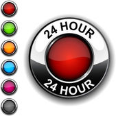 24 hour button. — Stock Vector