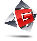 G 3d letter. — Stock Vector