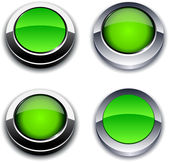 Green 3d buttons. — Stock Vector