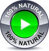 100% Natural round button. — Stock vektor