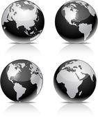 Black Earth balls. — Stock Vector
