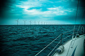 Raw of windmills shot from yacht — Stock Photo