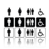 Toilet signs, man and woman — 图库矢量图片
