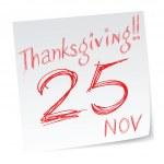Thanksgiving calendar, United States — Stock Vector