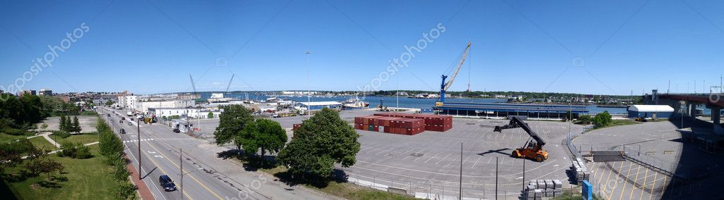 Portland Maine Panoramic of the port terminal and road leading into the city.  Taken from the Casco bridge — Stock Photo #3577351