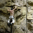 Stock Photo: Indoor rock climbing wall