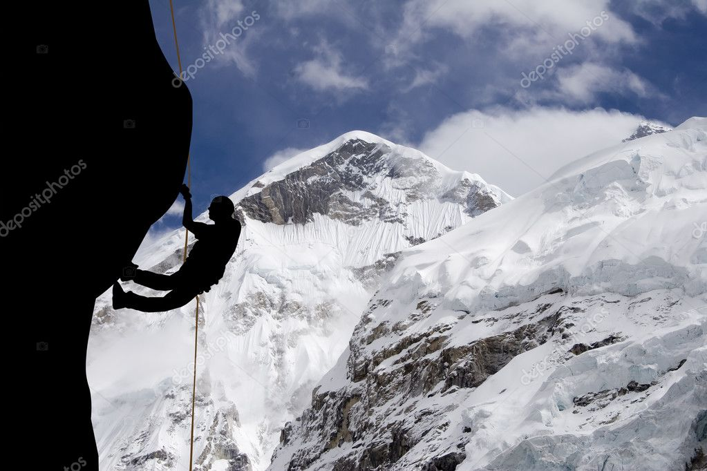 A rock climber near the west ridge of Mt. Everest — Stock Photo #2751357