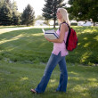 Attractive blonde on campus — Foto Stock #2797090