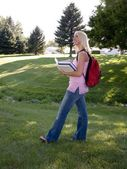 Attractive blonde on campus — Stock Photo