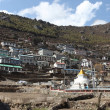 Asian village of Namche Bazar — Stock Photo
