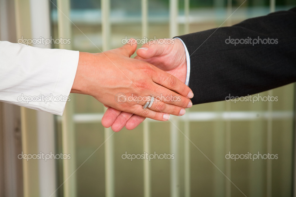 Businessman and woman shaking hands at meeting — Stock Photo #3541822