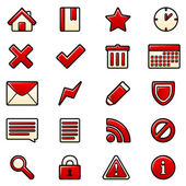 Red icons set — Stock Vector