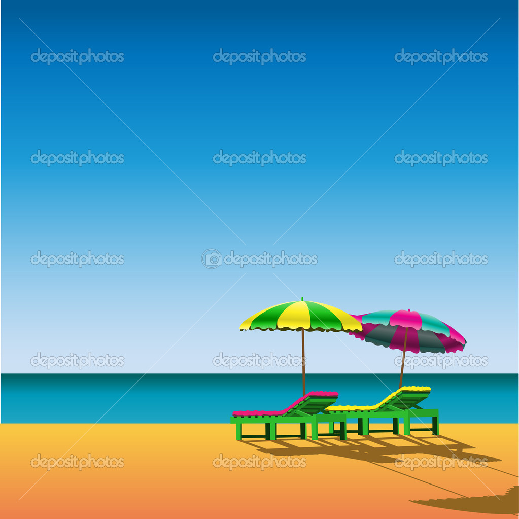 Two Sunloungers and Parasols on a Beach  Imagen vectorial #2812445