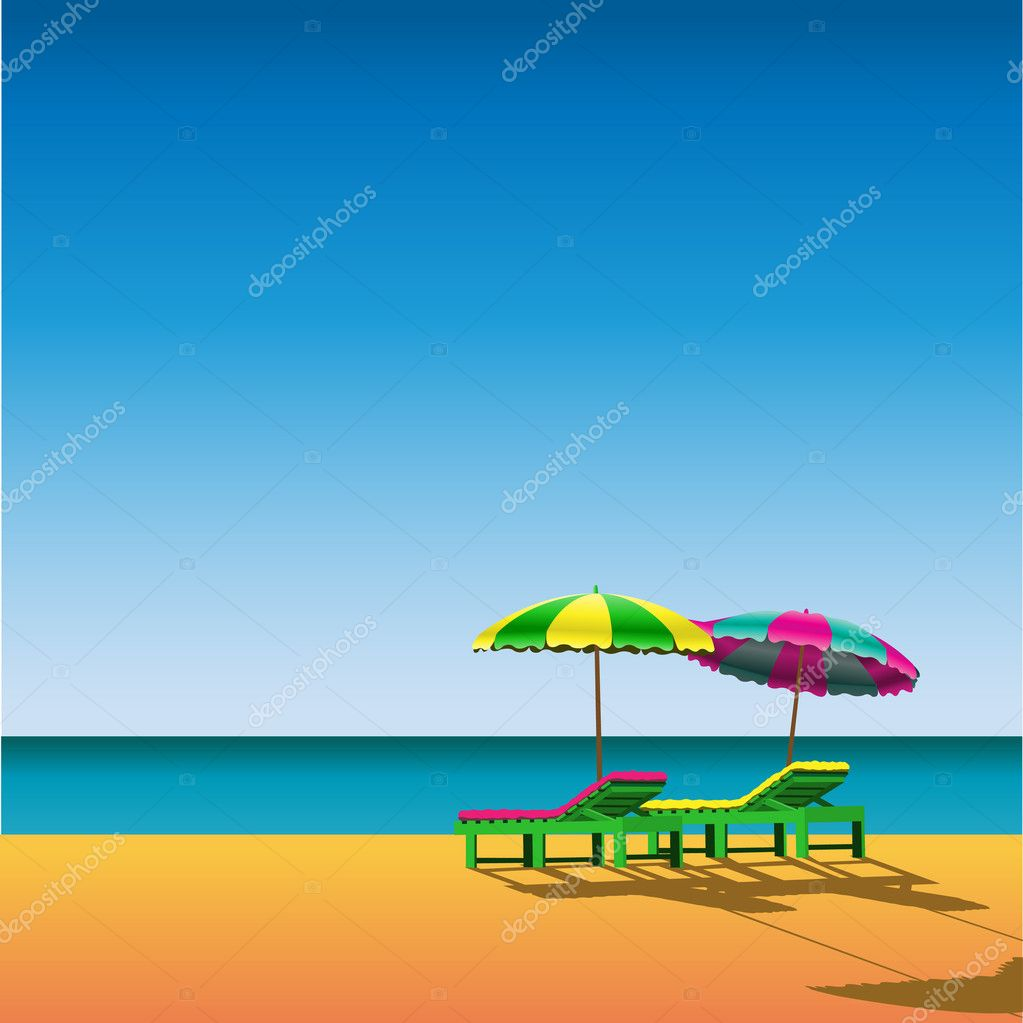 Two Sunloungers and Parasols on a Beach — Image vectorielle #2812445