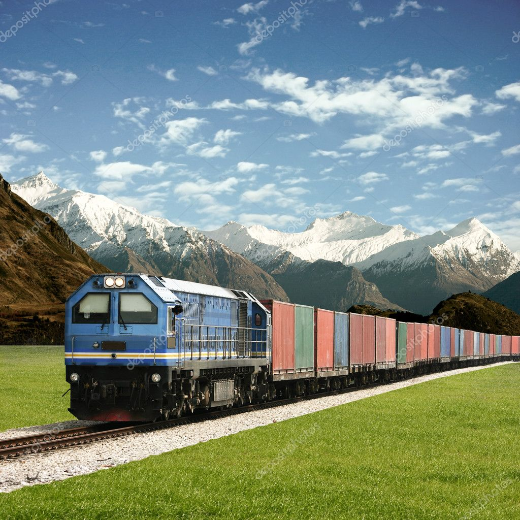 Freight Train in a Mountain Landscape — Stock Photo #2943787