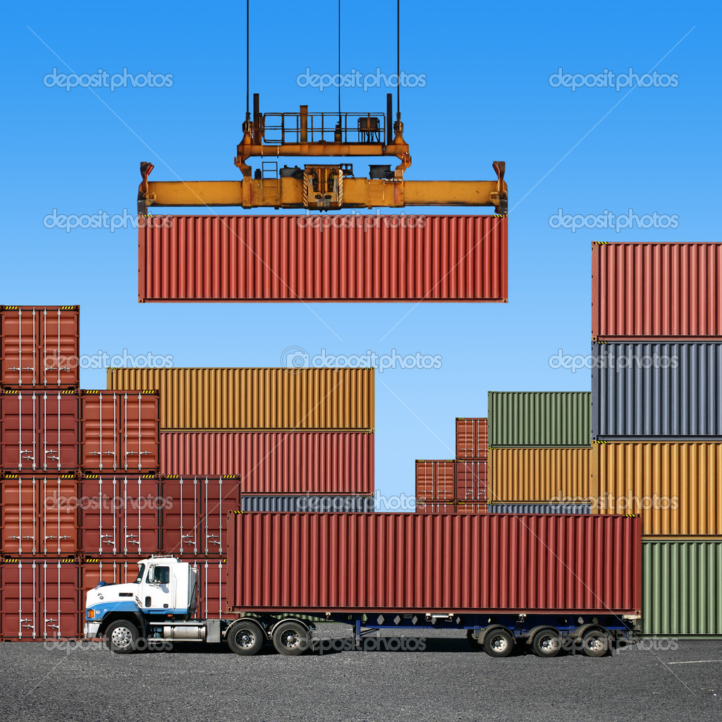 Stack of freight containers at the docks with Truck — Stock Photo #2943943