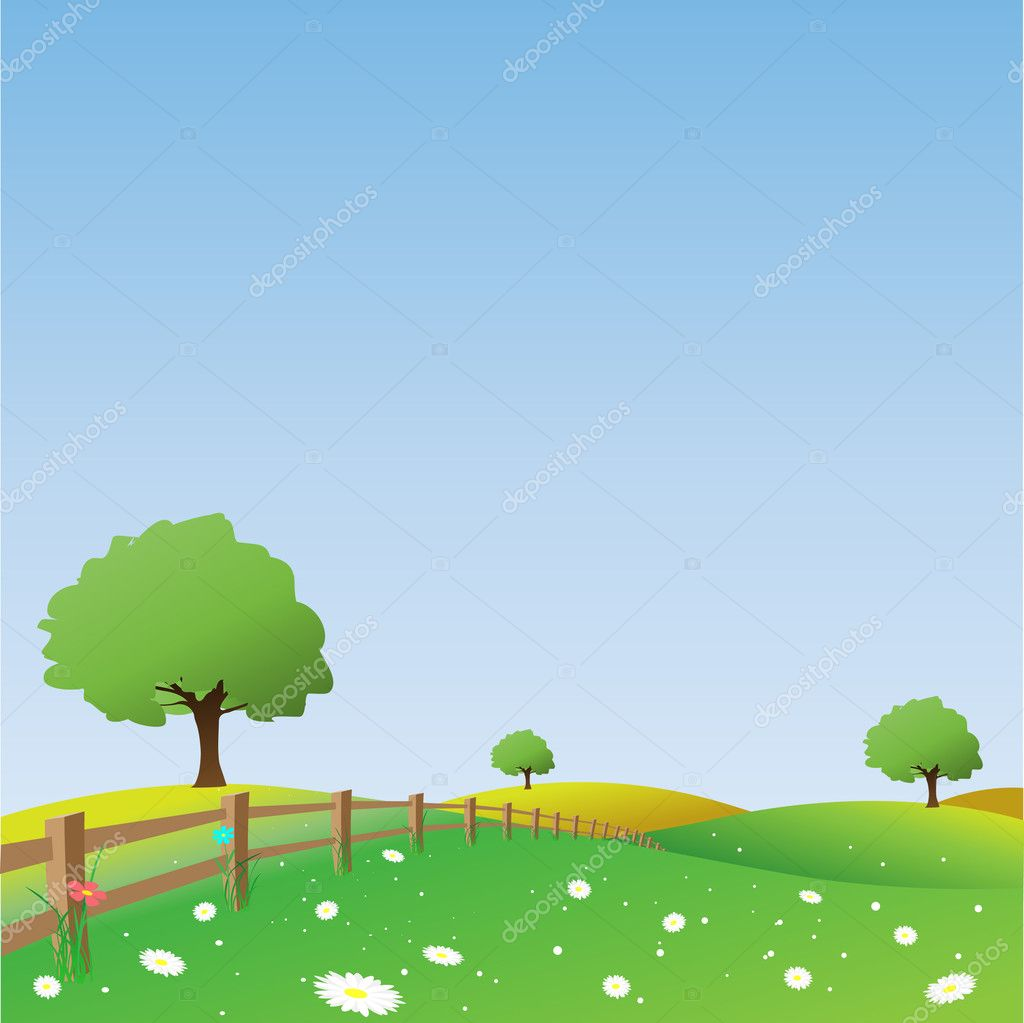 A Vector Landscape with Fence — Stock Vector #2945456