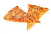Pedaço de pizza em um fundo branco — Fotografia Stock