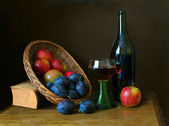 Fruit and wine — Stock Photo