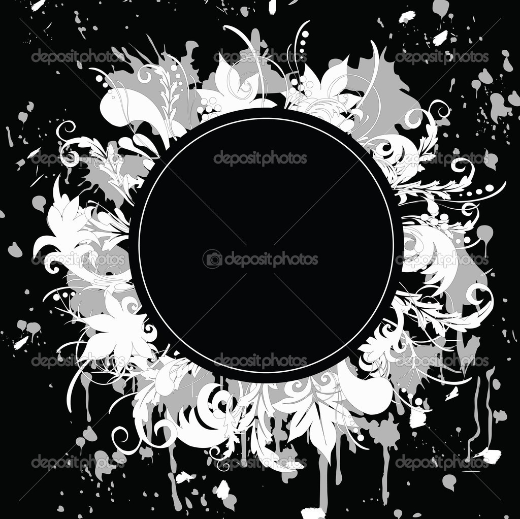 Black-and-white banner in grunge style. All elements of the image are located on different layers and can be changed.  Stock Vector #2862932