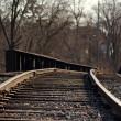 Railroad tracks over a bridge — Stock Photo