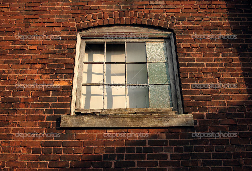 Old factory window on a brick wall — Stock Photo #2735755