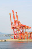 Waterfront Industrial Cranes — Stock Photo