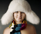 Girl in scarf and hat — Stock Photo