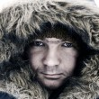 Guy in winter hood — Stock Photo