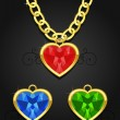 Heart jewel hanging on the chain — Imagens vectoriais em stock