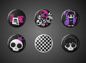 Set of emo fashion badges — Stock Vector