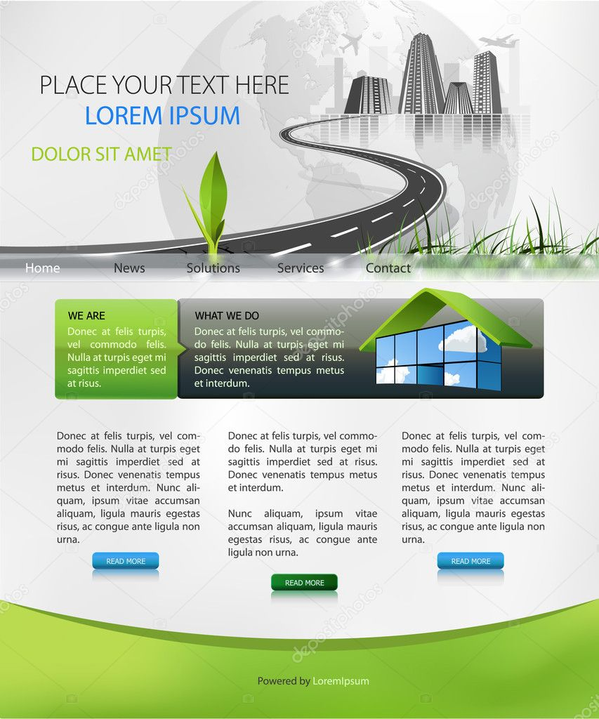 Web page design suitable for business homepage  Imagens vectoriais em stock #2743623