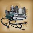 Retro city and car poster - Imagen vectorial
