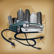 Retro city and car poster - Stock Vector