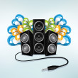 Music speakers in party mode — Stock Vector #3158148