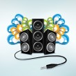 Stock Vector: Music speakers in party mode