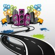 Stock Vector: Road to party