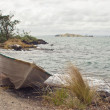 Dinghy on Rangitoto Island - Stock Photo