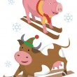 Skier_pig_cow — Stock Vector