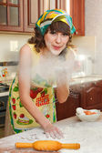 The girl at kitchen — Stock Photo