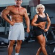 Stock Photo: Woman and man in a health club