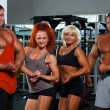 Women and men in a health club - Stock Photo