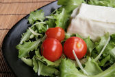 Stracchino with lettuce and tomatoes — Stock Photo