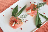 Smoked salmon finger-food — Stock Photo